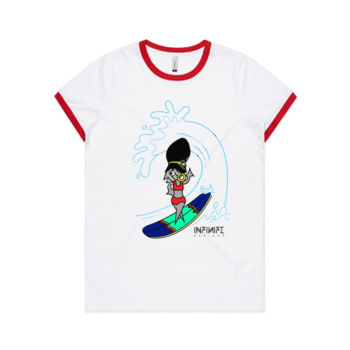 'Little Surfer Connie' Ringer Tee Thumbnail